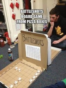 battle shots pizza box
