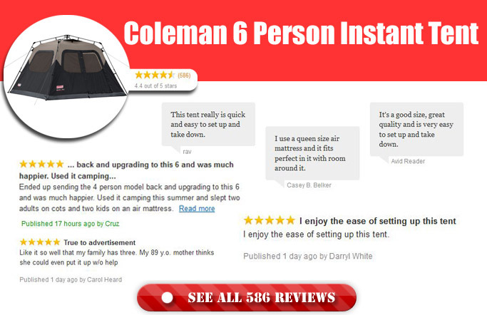 Coleman 6 Person Instant Tent Feedback